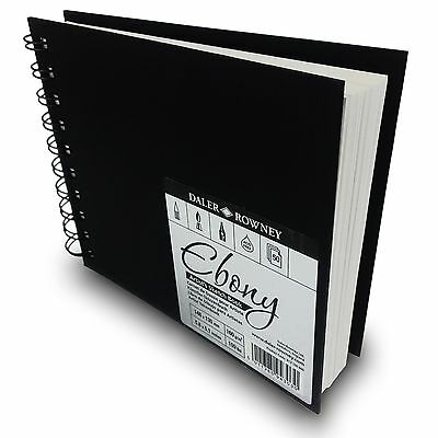 Daler Rowney Ebony Sketchbook - 50 Wire Bound White 160gsm pages - 148 x 130mm