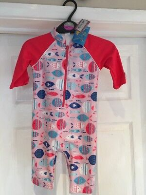 Bnwt Girls Upf Sunsuit Swimsuit Age 18-24m From Tu @sainsburys New