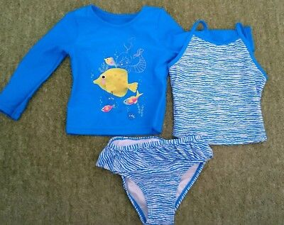 *NEW* M&S Girls swim / UV beach Tankini 3 piece set size 12-18 months