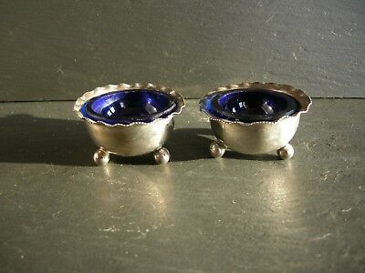 Small Pair Solid Silver Table Salts blue glass liners Birmingham 1889 Vale Bros