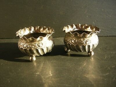 Small Pair of Solid Silver Table Salts Birmingham 1890 Hayes Brothers