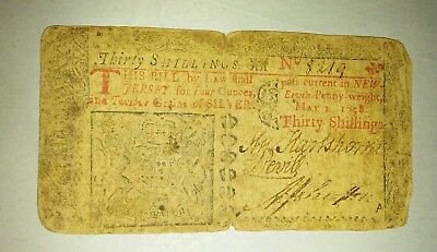 May 1 1758 New Jersey 30 Shilling Colonial Note   no 8219