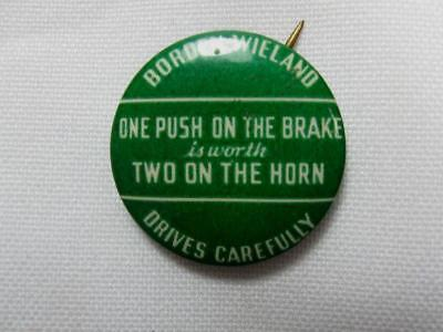 BORDENS WIELAND DAIRIES DRIVES CAREFULLY Vintage 1940's Celluloid on Tin Pinback