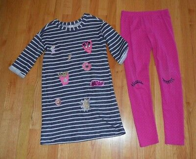 Gymboree Cosmic Club Girls Stiped DressEyelash Leggings Outfit size 10-12