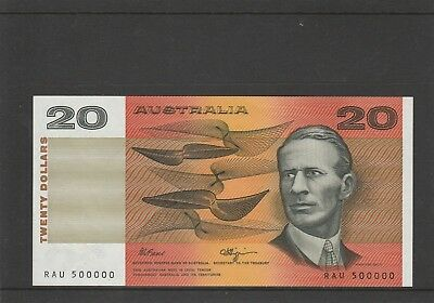 $20 Fraser Higgins RARE 500000 Serial Number UNC Australian Banknote Collector