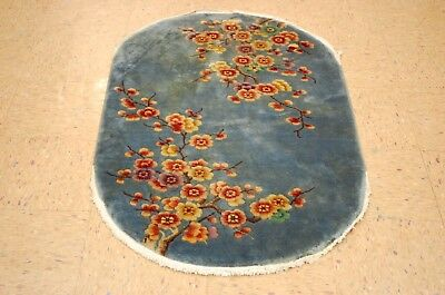 Cir 1920s ANTIQUE CHINESE WALTER NICHOLS OVAL RUG 2.6x4.3 OFFERED AT NO RESERVE