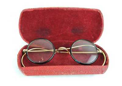 Vintage Round True WINDSOR EYE GLASSES & Gold Filled Spectacles with Case c.1900