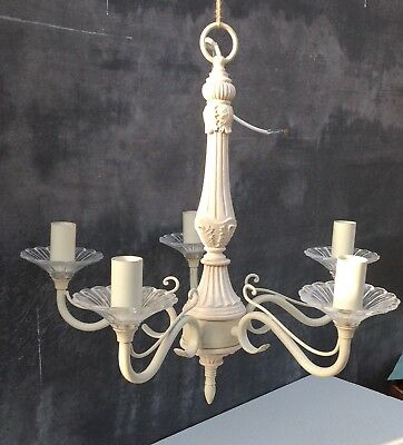 Scandinavian style white 5 arm chandelier with glass frilly bits