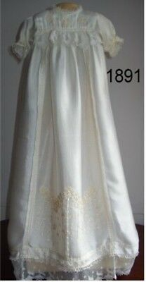 A beautiful Irish (?) vintage cream christening gown, hand embroidery & lace