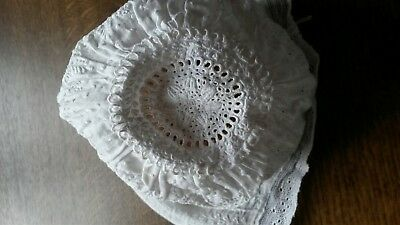 Stunning undamaged embroidered antique / vintage christening bonnet