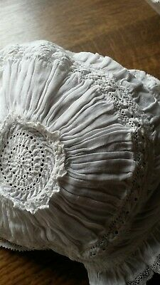 Stunning antique /vintage christening bonnet, embroidered & tiny gathers