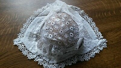 Antique / vintage christening bonnet - embroidered net and pillow lace