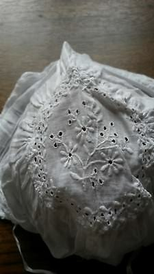 Embroidered antique / vintage christening bonnet