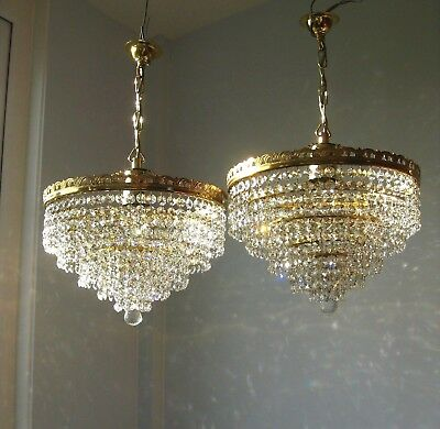 *Pair* 2 x Beautiful 5 tier Vintage Crystal & Brass Waterfall Chandelier Lights