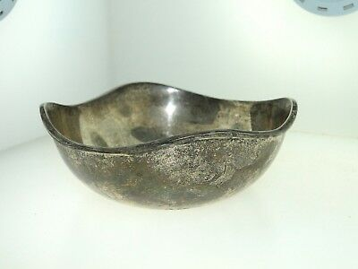 Antique Solid Sterling Silver Rsr Mexico Wavy Bowl