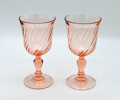 Pair of 2 Arcoroc Pink Rosaline Wine Glasses - France