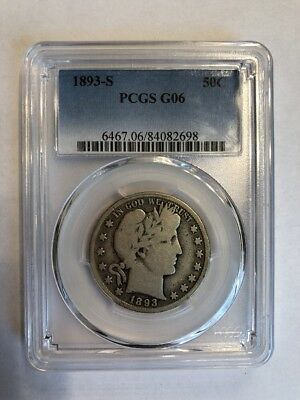 PCGS  G-6 1893-S  Barber Half Dollar  Nice Rims for the grade.  Key Date