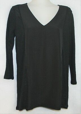 A PEA IN THE POD Black on Black Linen Knit Mixed Media Panel Tunic Top NWT - Sm