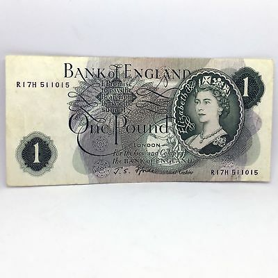 Great Britain 1 Pound 1966-1970 J S Fforde Note - Nice Condition *SR2E