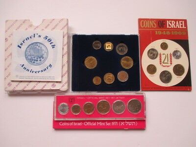 Lot Of 3 Israel Government Coin Sets - 1948-69, 1971 And 50Th Anniversary