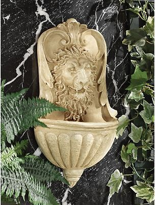 Classically Inspired Italian Antique Replica Lion Head Faux Stone Wall Font