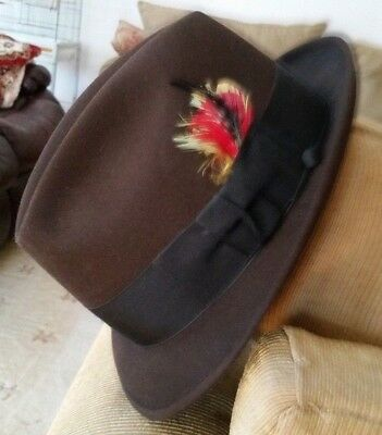 vintage Bond Fifteen fedora 7 1/4 with wind cord. Hare, beaver.