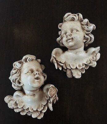 """Pair of Hand Crafted Wooden Wall Hanging Winged Cherubs / Angels ~ 6"""" Tall"""