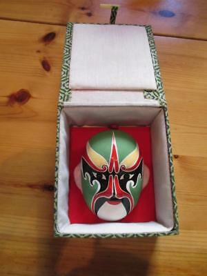 Vintage China Opera Wood(?) Mask With Case With Wall Mount (AN57)