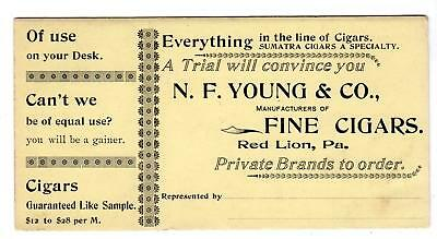 Red Lion Pa*young & Co*fine Cigars*sumatra A Specialty*vintage Ink Blotter