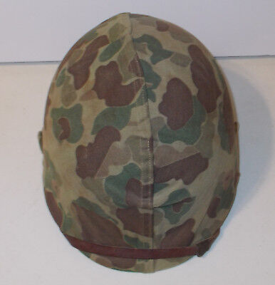 WWII USMC Camouflage Cover M1 Helmet with Khaki Liner Fixed Bale Front Seam Name