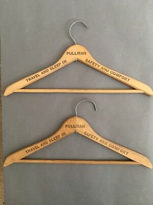 Vintage Wood Pullman Train Company Hangers Text On Both Sides Lot Of 2