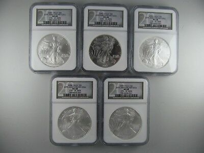 Set of 5 2001 - 2005 20th Anniversary Silver Eagles -- ALL NGC CERTIFIED COINS!