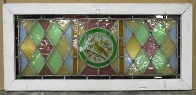 "OLD ENGLISH LEADED STAINED GLASS WINDOW TRANSOM Handpainted Bird 32.25"" x 14.75"""