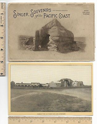 SINGER Souvenir Spanish Missions Pacific Coast Sewing Orig.Envelope Trade Card