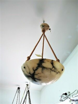 Swiss Made Marble Ceiling Light Fitting, Original Cord Conceals  Cord C1920's