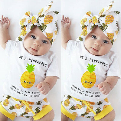 AU Infant Baby Boy Girl Romper+Shorts Set BE A PINEAPPLE Outfits Summer Clothes