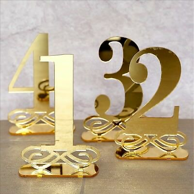 GOLD MIRROR TABLE Numbers Wedding Table Decor, Acrylic Table Numbers ...