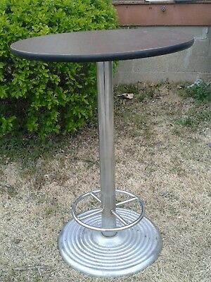 """vintage cast iron and steel pub table with footrest 41""""very rare retro"""" 1950s?"""