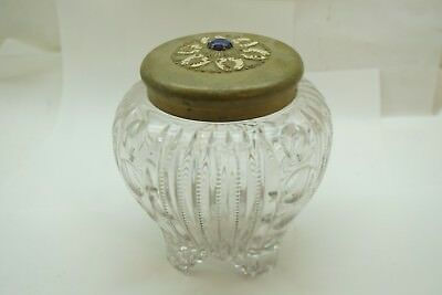 ANTIQUE GLASS JAR GINGER CUT JEWELED BRASS LID ZIPPER THUMBPRINT PATTERN 6in