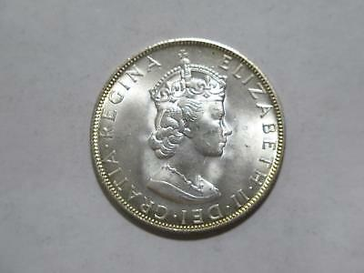 Bermuda 1964 One Crown Silver Type Unc World Coin Collection Queen Elizabeth Ii
