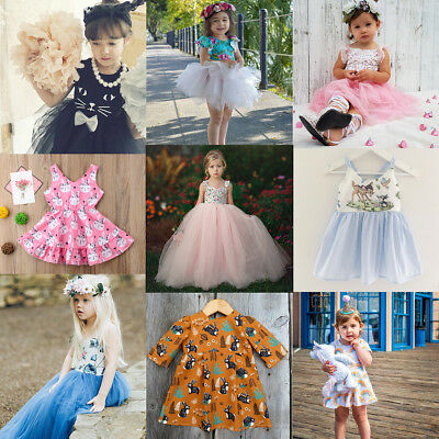 Toddler Kids Baby Princess Flower Girl Pageant Wedding Party Mesh Tutu Dress AU