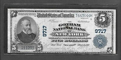 1902 $5 New York #9717 - Gotham National Bank PB Banknote