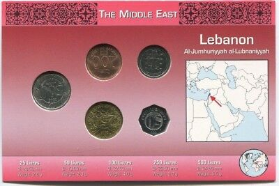 Lebanon Coin Set 5 Coins in  Original Littleton Holder with Informational Card