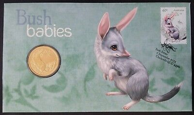 2011 Australia Bush Babies: The Bilby PNC with $1 UNC coin and 60c stamp