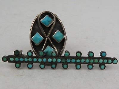 Antique RUSSIAN or European sterling silver TURQUOISE Ring Brooch pin