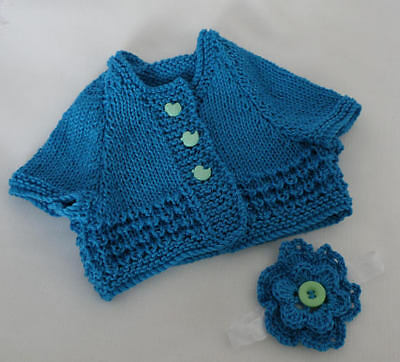 Hand Knitted Baby Clothes Girls 100% Cotton Summer Cardigan Newborn Size
