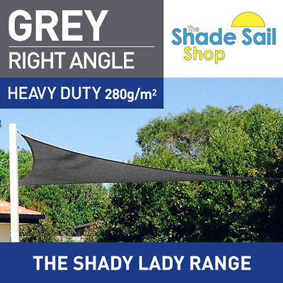 Right Angle Grey 7m X 8m X10.63m Shade Sail Sun Heavy Duty 280GSM Outdoor Grey
