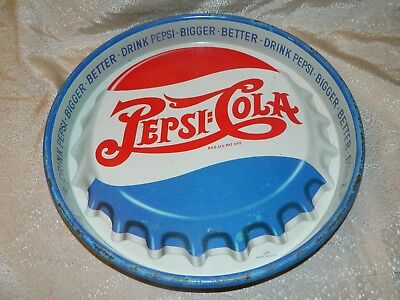 """Early Vintage Pepsi Double Dot Round Advertising Serving Tray Metal 13 1/4"""" D GC"""