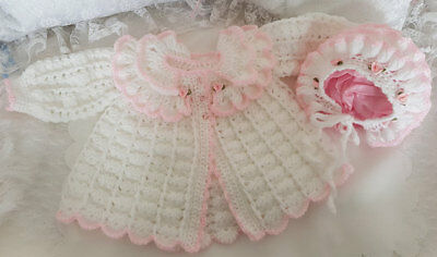 Hand Crochet Baby Clothes Girls or Reborn Dolls Matinee Coat & Bonnet 0-3 Months