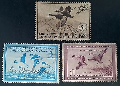 RARE 1939-49 United States lot of 3 Migratory Bird Hunting Stamps Mint & Used